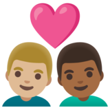 Couple with Heart: Man, Man, Medium-Light Skin Tone, Medium-Dark Skin Tone on Google Android 11.0 December 2020 Feature Drop