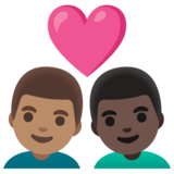 Couple with Heart: Man, Man, Medium Skin Tone, Dark Skin Tone on Google Android 11.0 December 2020 Feature Drop