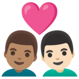 Couple with Heart: Man, Man, Medium Skin Tone, Light Skin Tone on Google Android 11.0 December 2020 Feature Drop