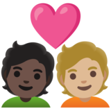 Couple with Heart: Person, Person, Dark Skin Tone, Medium-Light Skin Tone on Google Android 11.0 December 2020 Feature Drop