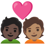 Couple with Heart: Person, Person, Dark Skin Tone, Medium Skin Tone on Google Android 11.0 December 2020 Feature Drop
