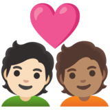 Couple with Heart: Person, Person, Light Skin Tone, Medium Skin Tone on Google Android 11.0 December 2020 Feature Drop