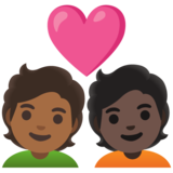 Couple with Heart: Person, Person, Medium-Dark Skin Tone, Dark Skin Tone on Google Android 11.0 December 2020 Feature Drop