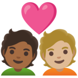 Couple with Heart: Person, Person, Medium-Dark Skin Tone, Medium-Light Skin Tone on Google Android 11.0 December 2020 Feature Drop