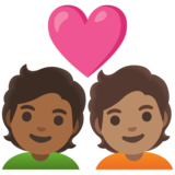 Couple with Heart: Person, Person, Medium-Dark Skin Tone, Medium Skin Tone on Google Android 11.0 December 2020 Feature Drop
