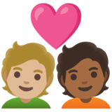 Couple with Heart: Person, Person, Medium-Light Skin Tone, Medium-Dark Skin Tone on Google Android 11.0 December 2020 Feature Drop