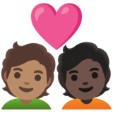 Couple with Heart: Person, Person, Medium Skin Tone, Dark Skin Tone on Google Android 11.0 December 2020 Feature Drop