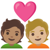 Couple with Heart: Person, Person, Medium Skin Tone, Medium-Light Skin Tone on Google Android 11.0 December 2020 Feature Drop