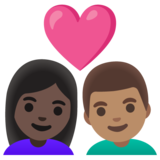 Couple with Heart: Woman, Man, Dark Skin Tone, Medium Skin Tone on Google Android 11.0 December 2020 Feature Drop