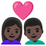Couple with Heart: Woman, Man, Dark Skin Tone on Google Android 11.0 December 2020 Feature Drop