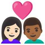 Couple with Heart: Woman, Man, Light Skin Tone, Medium-Dark Skin Tone on Google Android 11.0 December 2020 Feature Drop