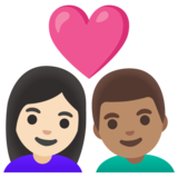 Couple with Heart: Woman, Man, Light Skin Tone, Medium Skin Tone on Google Android 11.0 December 2020 Feature Drop