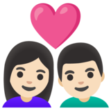 Couple with Heart: Woman, Man, Light Skin Tone on Google Android 11.0 December 2020 Feature Drop