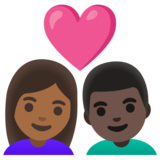 Couple with Heart: Woman, Man, Medium-Dark Skin Tone, Dark Skin Tone on Google Android 11.0 December 2020 Feature Drop