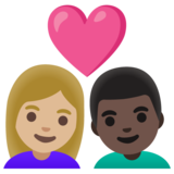 Couple with Heart: Woman, Man, Medium-Light Skin Tone, Dark Skin Tone on Google Android 11.0 December 2020 Feature Drop
