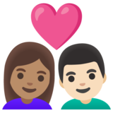 Couple with Heart: Woman, Man, Medium Skin Tone, Light Skin Tone on Google Android 11.0 December 2020 Feature Drop
