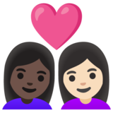 Couple with Heart: Woman, Woman, Dark Skin Tone, Light Skin Tone on Google Android 11.0 December 2020 Feature Drop