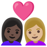 Couple with Heart: Woman, Woman, Dark Skin Tone, Medium-Light Skin Tone on Google Android 11.0 December 2020 Feature Drop