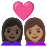 Couple with Heart: Woman, Woman, Dark Skin Tone, Medium Skin Tone on Google Android 11.0 December 2020 Feature Drop