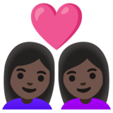 Couple with Heart: Woman, Woman, Dark Skin Tone on Google Android 11.0 December 2020 Feature Drop