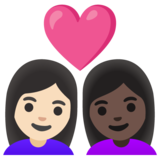 Couple with Heart: Woman, Woman, Light Skin Tone, Dark Skin Tone on Google Android 11.0 December 2020 Feature Drop