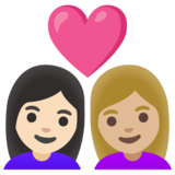 Couple with Heart: Woman, Woman, Light Skin Tone, Medium-Light Skin Tone on Google Android 11.0 December 2020 Feature Drop
