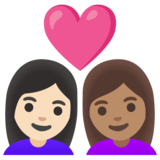 Couple with Heart: Woman, Woman, Light Skin Tone, Medium Skin Tone on Google Android 11.0 December 2020 Feature Drop