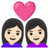 Couple with Heart: Woman, Woman, Light Skin Tone on Google Android 11.0 December 2020 Feature Drop
