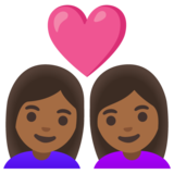 Couple with Heart: Woman, Woman, Medium-Dark Skin Tone on Google Android 11.0 December 2020 Feature Drop