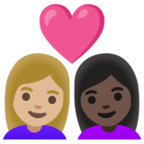 Couple with Heart: Woman, Woman, Medium-Light Skin Tone, Dark Skin Tone on Google Android 11.0 December 2020 Feature Drop