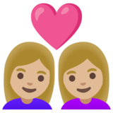 Couple with Heart: Woman, Woman, Medium-Light Skin Tone on Google Android 11.0 December 2020 Feature Drop