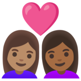 Couple with Heart: Woman, Woman, Medium Skin Tone, Medium-Dark Skin Tone on Google Android 11.0 December 2020 Feature Drop