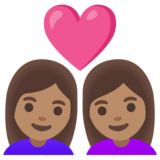 Couple with Heart: Woman, Woman, Medium Skin Tone on Google Android 11.0 December 2020 Feature Drop