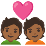 Couple with Heart: Medium-Dark Skin Tone on Google Android 11.0 December 2020 Feature Drop