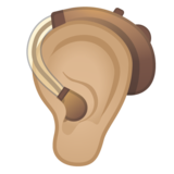 Ear with Hearing Aid: Medium-Light Skin Tone on Google Android 11.0 December 2020 Feature Drop