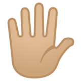 Hand with Fingers Splayed: Medium-Light Skin Tone on Google Android 11.0 December 2020 Feature Drop