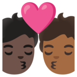 Kiss: Person, Person, Dark Skin Tone, Medium-Dark Skin Tone on Google Android 11.0 December 2020 Feature Drop