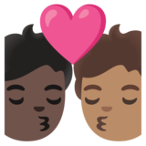 Kiss: Person, Person, Dark Skin Tone, Medium Skin Tone on Google Android 11.0 December 2020 Feature Drop