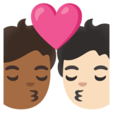 Kiss: Person, Person, Medium-Dark Skin Tone, Light Skin Tone on Google Android 11.0 December 2020 Feature Drop