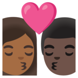 Kiss: Woman, Man, Medium-Dark Skin Tone, Dark Skin Tone on Google Android 11.0 December 2020 Feature Drop