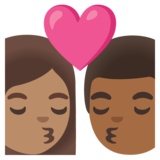 Kiss: Woman, Man, Medium Skin Tone, Medium-Dark Skin Tone on Google Android 11.0 December 2020 Feature Drop