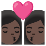 Kiss: Woman, Woman, Dark Skin Tone on Google Android 11.0 December 2020 Feature Drop