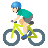 Man Biking: Light Skin Tone on Google Android 11.0 December 2020 Feature Drop