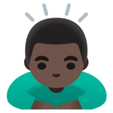 Man Bowing: Dark Skin Tone on Google Android 11.0 December 2020 Feature Drop