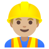 Man Construction Worker: Medium-Light Skin Tone on Google Android 11.0 December 2020 Feature Drop