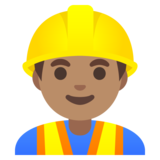 Man Construction Worker: Medium Skin Tone on Google Android 11.0 December 2020 Feature Drop