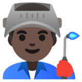 Man Factory Worker: Dark Skin Tone on Google Android 11.0 December 2020 Feature Drop