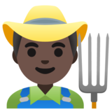 Man Farmer: Dark Skin Tone on Google Android 11.0 December 2020 Feature Drop