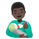 Man Feeding Baby: Dark Skin Tone on Google Android 11.0 December 2020 Feature Drop