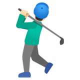 Man Golfing: Light Skin Tone on Google Android 11.0 December 2020 Feature Drop